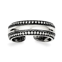 Sterling Silver 5mm Wide Antiqued Bead Design Toe Ring