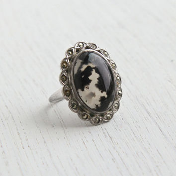 Antique Art Deco Sterling Silver Ring - Vintage Black Moss Agate & Marcasite 1930s Size 5 1/4 Signed Uncas Jewelry / Swirled Clear, Dark