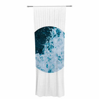 "Chelsea Victoria ""The Sea"" Nautical Blue Decorative Sheer Curtain"
