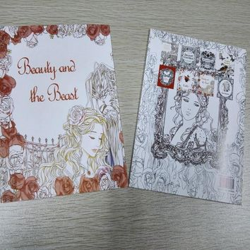 English Edition Beauty And The Beast Coloring Book 16 Pages Secret Garden Styles For Adult Relieve Stress Painting Drawing Books