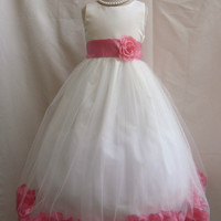 Flower Girl Rose Petal Dress Ivory with Coral for Easter Wedding Bridesmaid