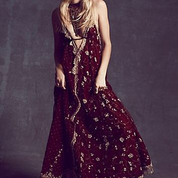 Free People Womens FPX Maja Raja Maxi - Red and Gold Combo