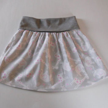 Grey Fold Over Waist Baby Skirt With Elephants and Giraffes, Grey Toddler Skirt, Grey Skirt Baby, Twirl Skirt Baby, Flounce Skirt Baby