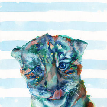 BABY TIGER painting - Watercolor print - Wild animals decor