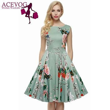 Vintage Retro Floral or Solid Elegant Knee-Length Dress