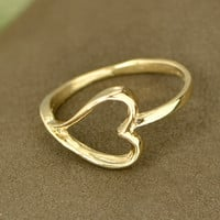 Fall Sale 10K Yellow Gold Sideways Heart Ring - Gold Ring - Heart Jewelry - Gold Promise Ring - Gold Jewelry - Gold Heart Ring