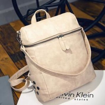 Cool Backpack school COOL WALKER Vintage Casual New Style Women Leather Backpack School Bags High Quality Women Famous Brand Backpack Rivet Zipper AT_52_3