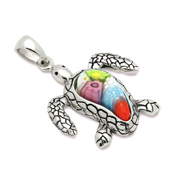 "Sterling Silver Multicolor Glass Murano Millefiori Glass Pendant Turtle  (Free 18"" Chain)"