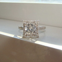 "White Sapphire and Diamond Engagement Ring Halo Square Vintage Antique 14K White Gold Exclusive ""The Penelope"""