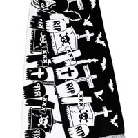 Too Fast Graveyard Halloween Scene Large Knit Scarf | Attitude Clothing