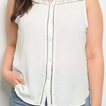 Sleeveless Button Down Lace Trim Collared Plus size Blouse Top