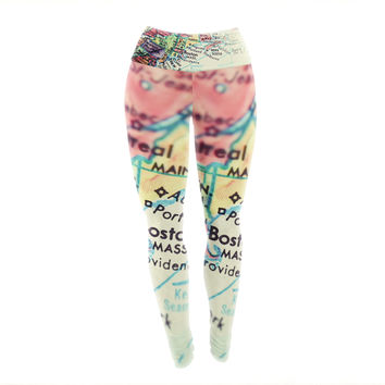 "Debbra Obertanec ""Boston On The Time"" Multicolor Pastel Yoga Leggings"