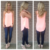 Neon Coral Sleeveless Dobby Blouse