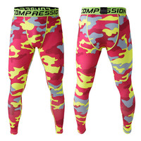 Camouflage Gym Stretch Pants Permeable Quick Dry Skinny Pants [6572772935]