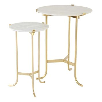 Plié Table-Polished Brass/White Honed Marble