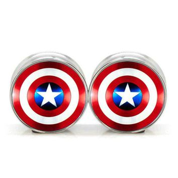 ac DCCKO2Q 1 pair plugs stainless steel Captain America double flare ear plug gauges tunnel body piercing jewelry PSP0018