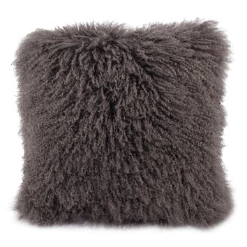 A Home Mongolian Lamb Fur Pillow, Gray