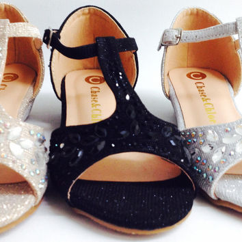 Girls Chase & Chloe Weston2K Glitter Rhinestone Open Toe T-strap Wedge Flats Heels Sandals Shoes