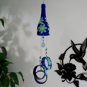 Cobalt blue wine bottle Wind Chime, Turquoise and Lavender flowers, yard art, patio decor, recycled bottles, Mushroom beads