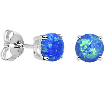 6mm Blue Round Sterling Silver Synthetic Opal Stud Earrings