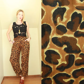 90s - Mustard & Brown - Animal - Leopard Print - Crinkle - High Waist - Pleated - Draped - Harem - Palazzo Pants