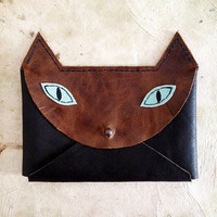 Handmade Leather brown and turquoise envelope style cat wallet with silver hardware