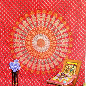 Red Hippie Hippy Wall Hanging , Indian Mandala Tapestry Throw Bedspread , Dorm Tapestry , Decorative Wall Hanging , Picnic Beach Sheet M 250
