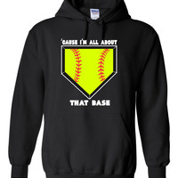 Cause I'm All About That Base Girls Softball Hoodie with fluorescent yellow