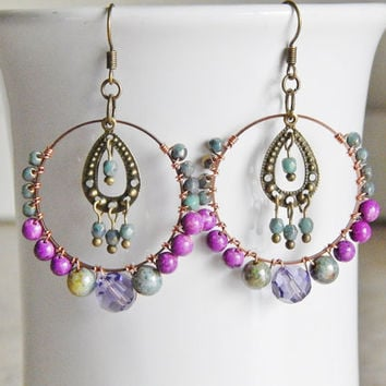 Beaded Hoop Earrings Wire Wred Chandeliers Boho Gypsy Hoops In Purple And Sage Bohemian Jewelry