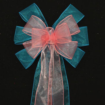 Turquoise Coral Sheer Wedding Pew Bows