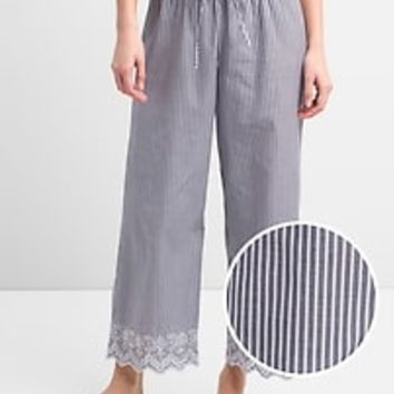 Eyelet Embroidery Pajama Pants in Poplin|gap