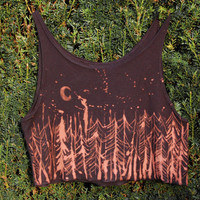 bleached crop top ~red pine tree forest ~crescent moon ~night