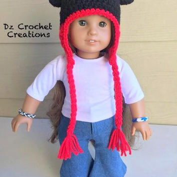 American Girl Doll - 18' Doll - Mickey Mouse Beanie - Crochet Doll Beanie - Beanie Mickey - Crochet Mickey Beanie - Crochet Beanie - Doll