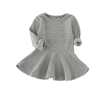 Baby Girl Dresses Girls Spring Autumn Candy Color Cotton Long Sleeve Solid Princess Pretty Baby Dress For Baby Tutu Dresses