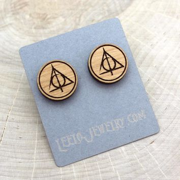 Wooden Deathly Hallows Earrings