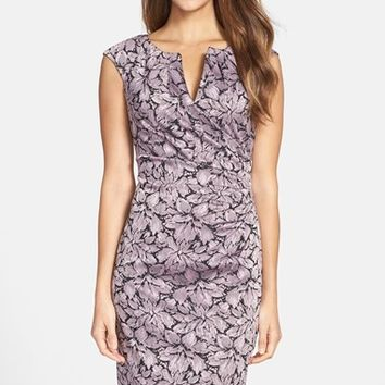 Women's Adrianna Papell Metallic Floral Jacquard Sheath Dress