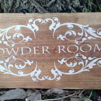 Rustic Woodland Wood Sign Powder Room Bathroom Decoration Barn Wood