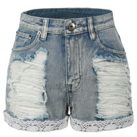 LE3NO Womens High Waisted Distressed Denim Jean Shorts with Lace Trim (CLEARANCE)