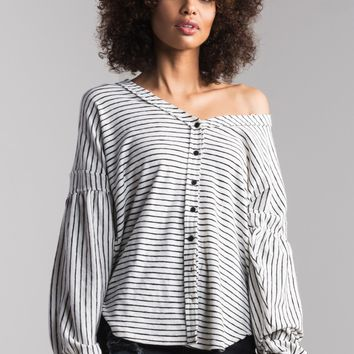 AKIRA Button Up Bishop Sleeve Striped Sweater in White