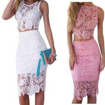 LMFUG3 Fashion Women Summer Dress Lace 2 Piece Set Bodycon Sexy Dresses [9221956804]
