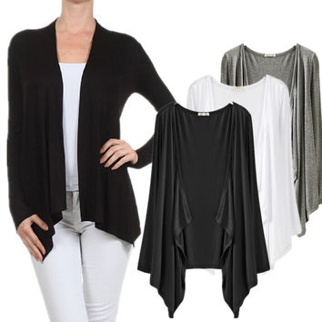 GJ56 Womens Draping Long Sleeve Jersey Open Cardigan Super-Soft Open Front Drape Cardigan Modal Super Comfy Basic Cardigan Solid