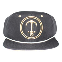Upside Down Anchor Snapback Hat - YACHT PARTY - Black / Tan