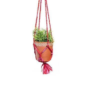 Upcycled Sari Macrame Plant Hanger and Medium Clay Planter  (GC)