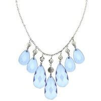 1928 Jewelry Light Blue Jeweled Bib Necklace