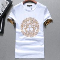 Versace 2019 new high quality men's loose round neck short-sleeved T-shirt white