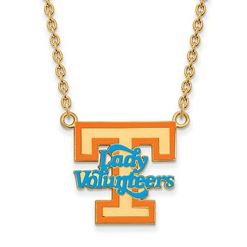 NCAA 14k Gold Plated Silver U of Tennessee Lg. Enamel Pendant Necklace
