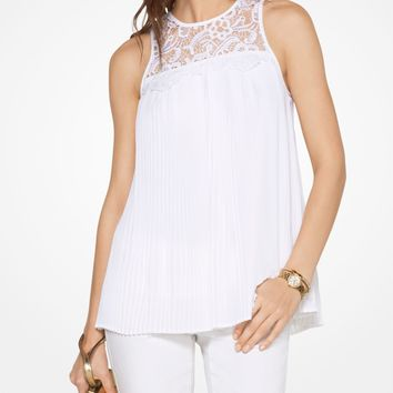 Lace-Panel Pleated Top | Michael Kors