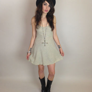 90s GRUNGE MINI DRESS - bias cut - light sage green - vintage rampage - xs/s