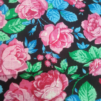 "Vintage 80s 90s Floral Rose  Black Pink Blue Print 1.75 yards x 45"" Wide Cotton Fabric"