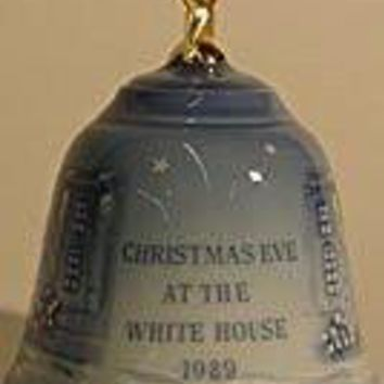 1989 Porcelain Christmas Bell--Bing & Grondahl -- Christmas Eve at the White House